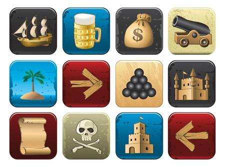 pictogrammen van de piraat Vector Illustratie