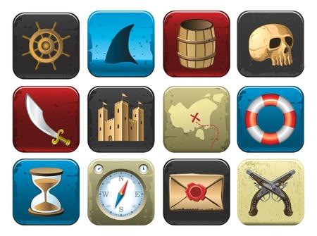 isla del tesoro: iconos de pirata Vectores