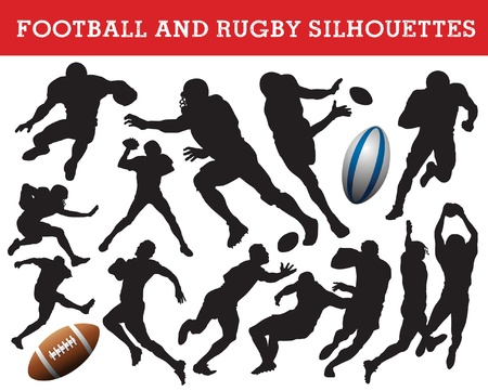 american football and rugby silhouettes