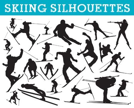 Skiën silhouetten Vector Illustratie
