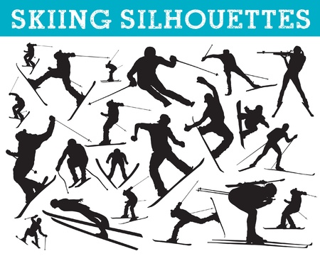 downhill skiing: skiing silhouettes Illustration
