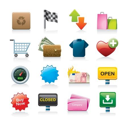 money boxes: shopping icon set