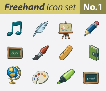 freehand icon set - school Vector