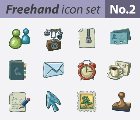 freehand icon set - office and communication Stock Vector - 9811329