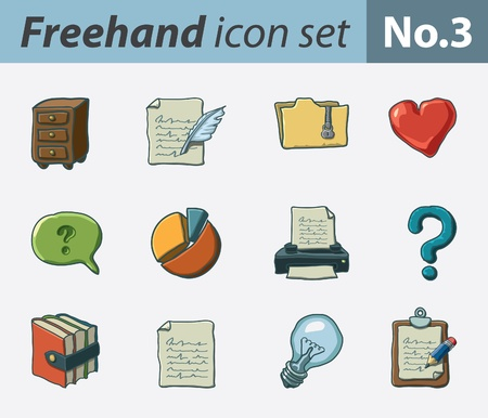 freehand icon set - office tools Stock Vector - 9811320