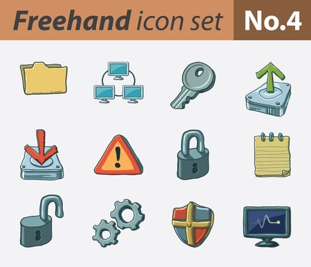 freehand icon set - security Stock Vector - 9811321