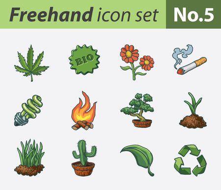 bloempot: freehand icon set - ecology Stock Illustratie