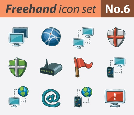freehand icon set - networking Stock Illustratie