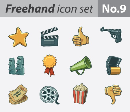 freehand icon set - movie Vector