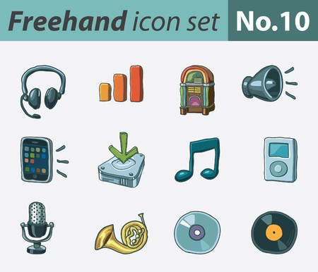 freehand icon set - audio Stock Vector - 9811317