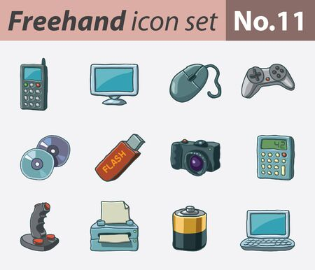 freehand icon set - multimedia Vector