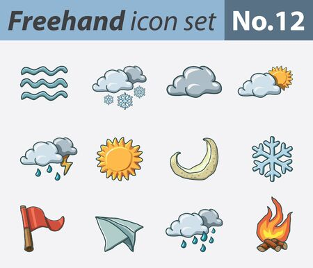 freehand icon set - weather Stock Vector - 9811323