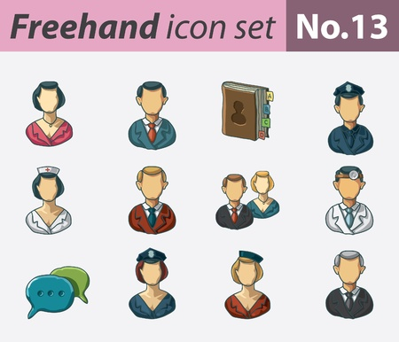 administration: freehand icon set - occupations