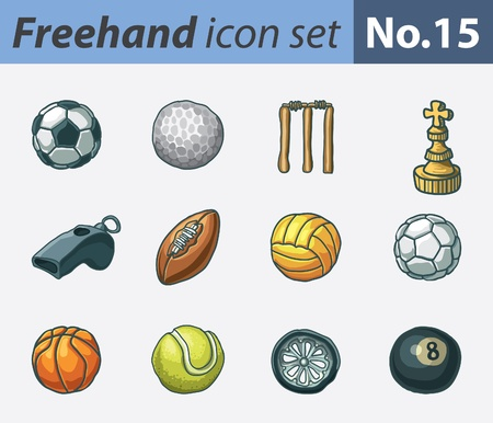 freehand icon set - sports Vector