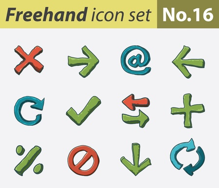 freehand icon set - navigation Stock Vector - 9811312
