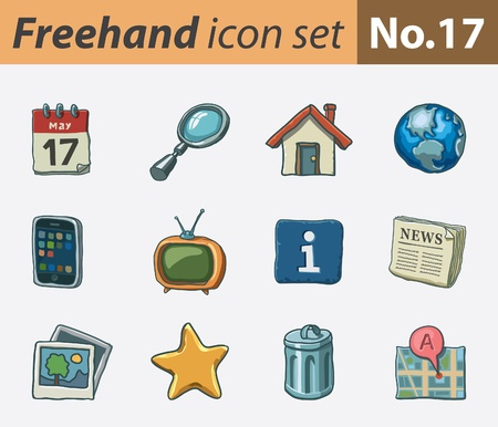 freehand icon set - internet Stock Vector - 9811318