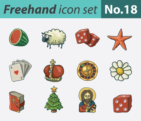 freehand icon set - various Vector