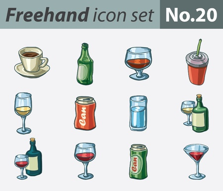 cola canette: Freehand icon set - boissons