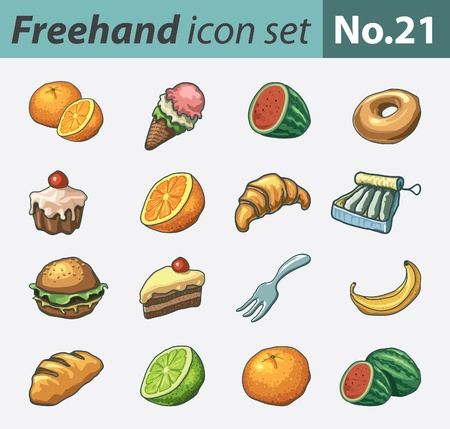 freehand: freehand icon set - food Illustration