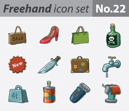 freehand icon set - various Stock Vector - 9855187