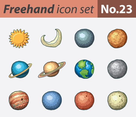 freehand icon set - planets Stock Vector - 9855189