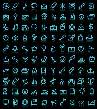 simple icons on black background