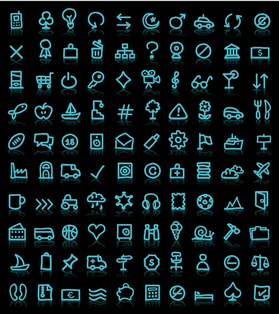simple icons on black background Stock Vector - 10260633
