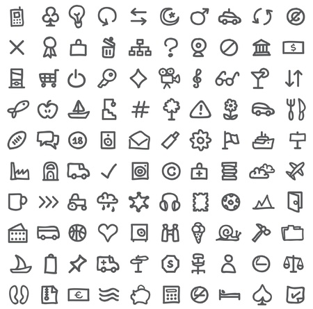 simple icons on white