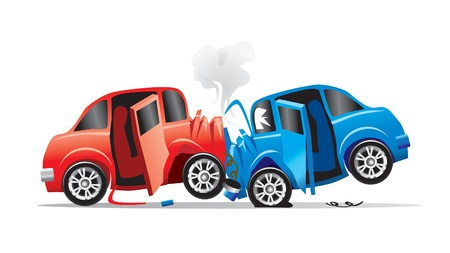 car crash: auto-ongeluk Stock Illustratie