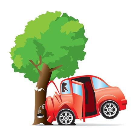 samochód rozbił się w drzewie