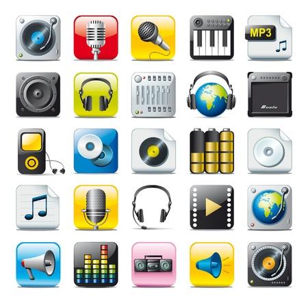 audio icons  イラスト・ベクター素材
