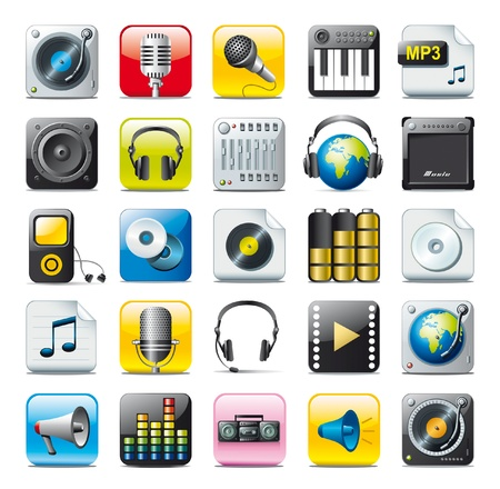 turntables: audio icons Illustration