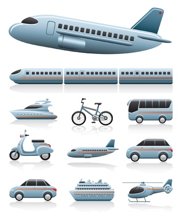 railway transportation: transportation icons Illustration