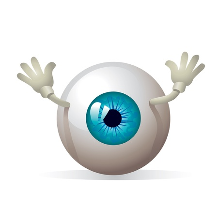 eyeball: eye with hands  Illustration