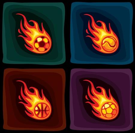 fireball illustrations Vector
