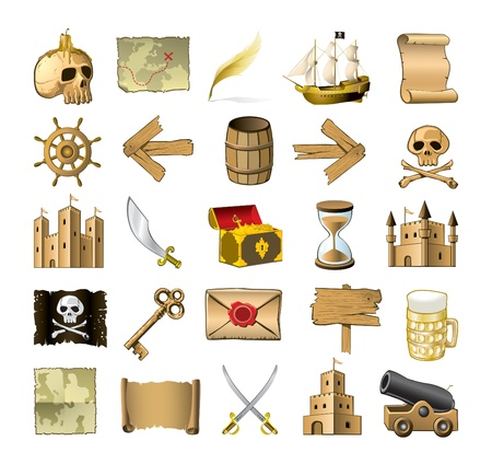 gold treasure: pirate icon set