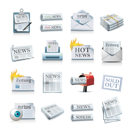 news icon: newspaper icon set Illustration
