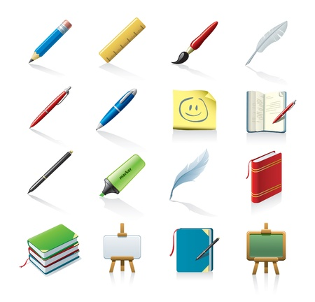 school icon: drawing and writing icons Illustration
