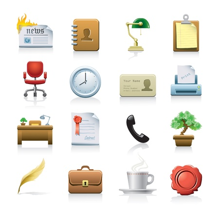 офис: бизнес значки Иллюстрация