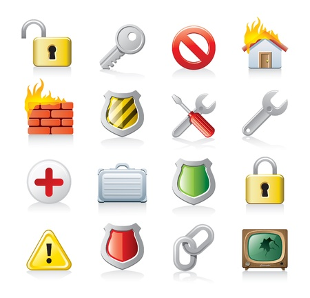fire safety signs: securrity pictogrammen Stock Illustratie