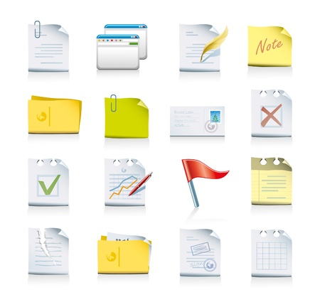 signing papers: files and folders icon set
