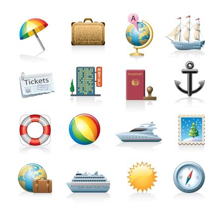 yacht isolated: conjunto de iconos de viajes