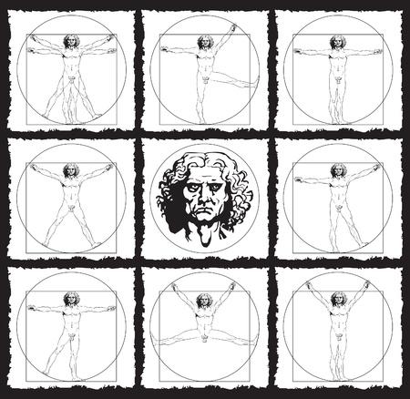 uomo vitruviano: disegni di anatomia umana Vettoriali