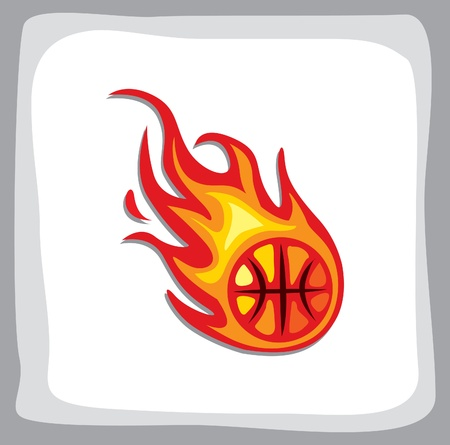 basketball ball on fire: basketball fireball