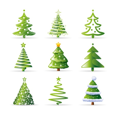 christmas tree set: christmas trees