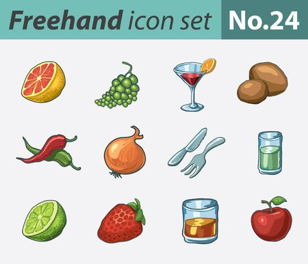 freehand icon set - food and drink Stock Vector - 11071234