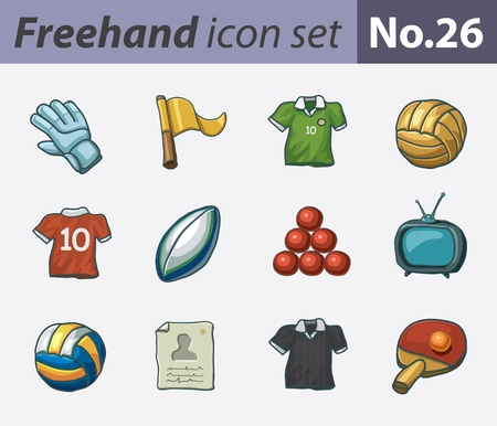 freehand icon set - soccer Vector