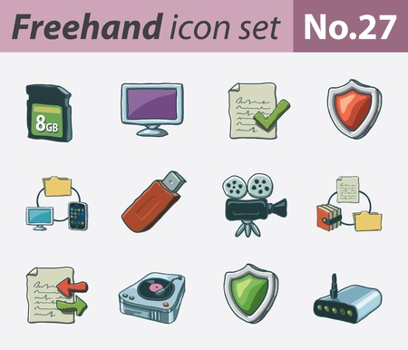 freehand icon set - technology and security Illustration