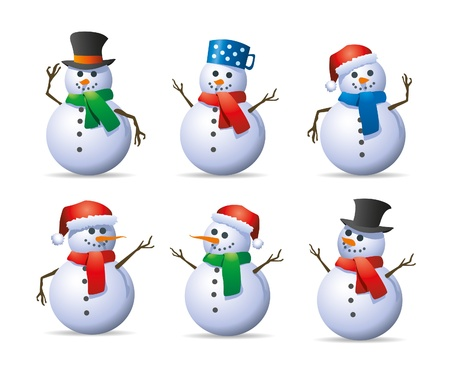 conjunto de muñeco de nieve Ilustración de vector