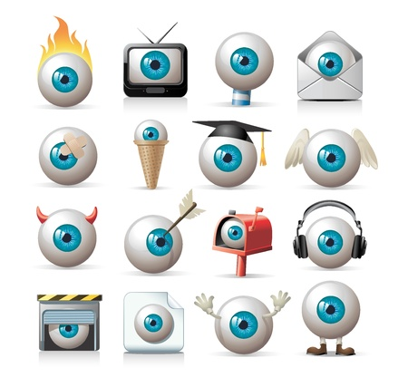 tv icon: set of eyeballs Illustration